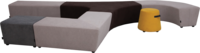 Beispiel-Zusammenstellung für Sitzhocker Vendi   Hockerlandschaft in verschiedenen Farben für Büro oder Kreativzonen   Frontansicht