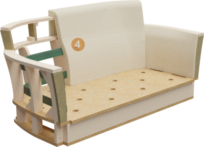 Clubmöbel Bellosa | Aufbau Querschnitt mit Gestell, Rückenlehneaufbau, und Polsterung