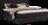 Bett in dunkelgrauem Stoff mit Schwebeoptik und Einstecktasche im Kopfhaupt