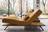 Relaxliege der Wohnlandschaft Verona in gelbem Leder mit Holzsockel und schwarzen Metallfüßen