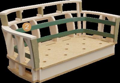 Clubmöbel Bellosa | Aufbau Querschnitt mit Gestell und Rückenlehneaufbau