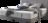 Boxspringbett in grauem Stoff mit schwebender Optik und Keder Naht am Kopfhaupt