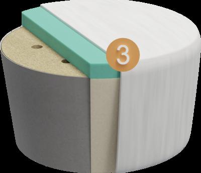Sitzhocker Villo | Aufbau Querschnitt Gestell mit Polsterung und Feinpolsterung