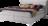 hellgraues Bett Kalina mit schmalen Chromfüßen und Naht im Kopfhaupt