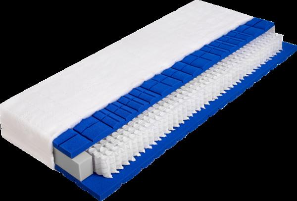 Matratze mit Tonnentaschenfederkern und blauer Kaltschaumauflage