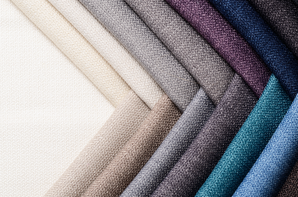 Collection of fabrics with different colors