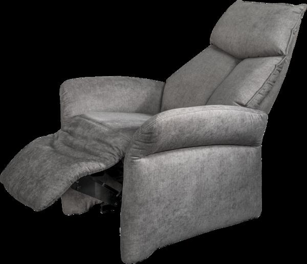 Sessel in dunkelgrauem Stoff und elektrischer Aufstehhilfe