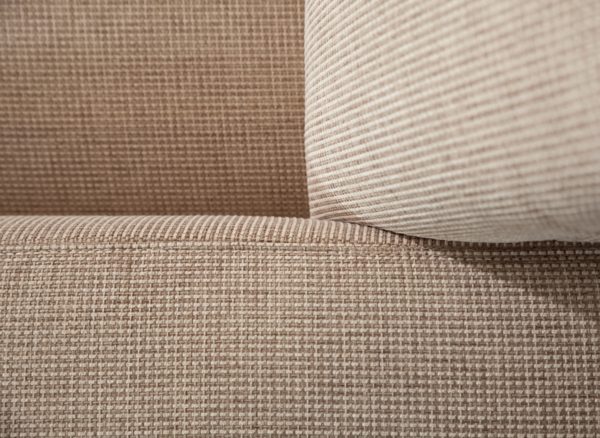 Detailed view of the beige upholstery of the seat set Ocean