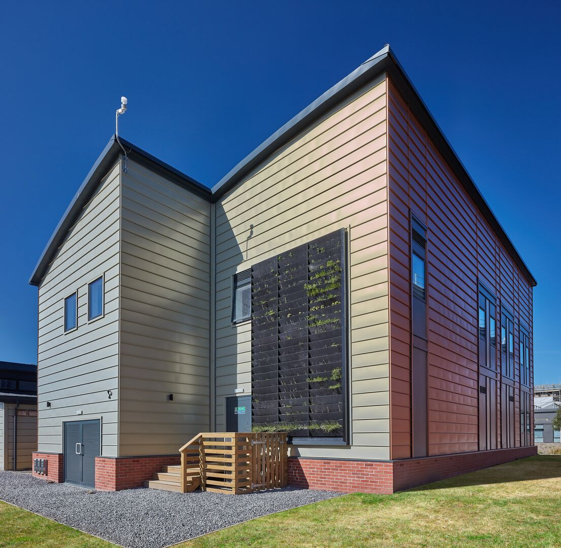 Active office featuring Colorcoat Urban standing seam cladding