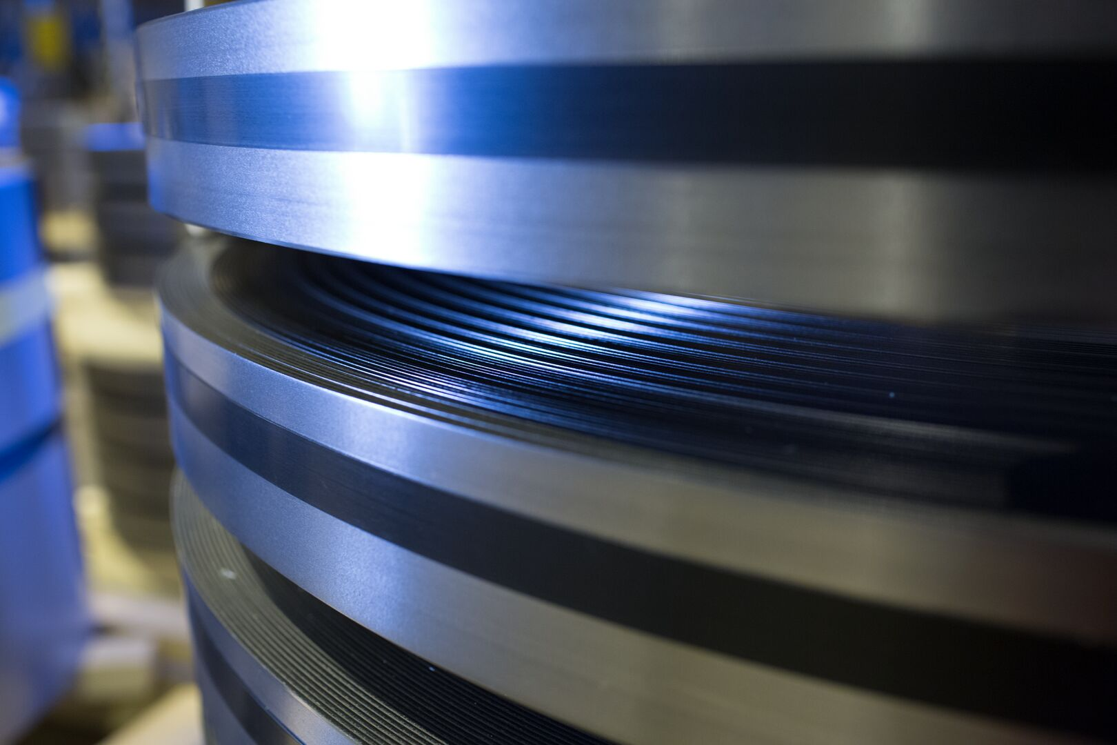Close up shot of steel coils