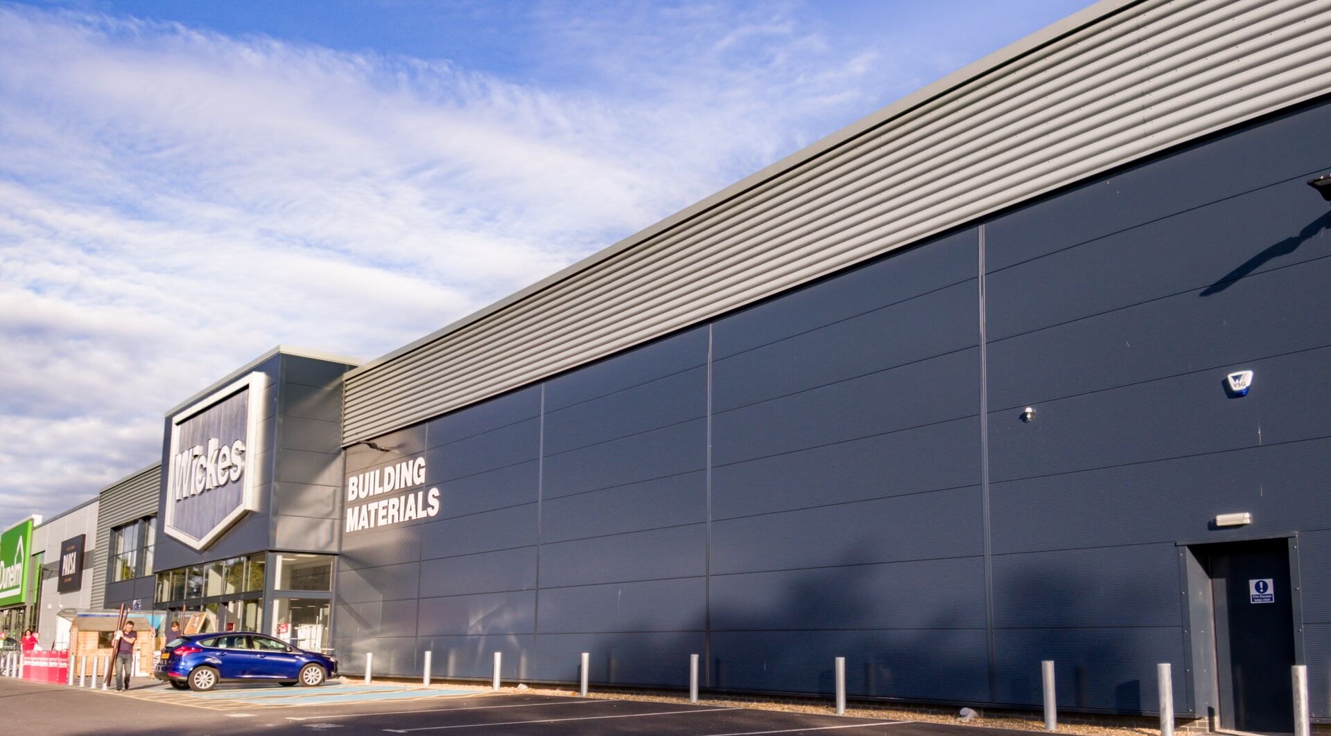 Wickes DIY store in UK showcasing Colorcoat Aquatite gutters, Trisomet roof and Trimapanel walls