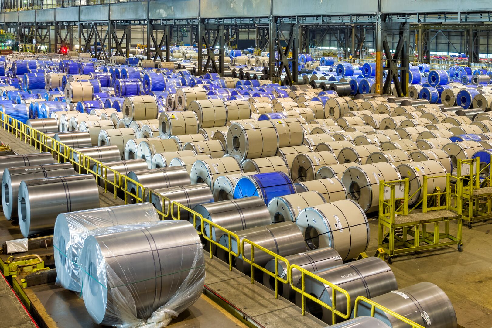 Cold mill storage facility full of cold rolled coils