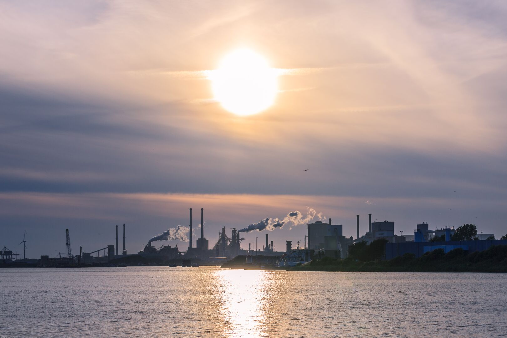 Tata Steel in IJmuiden at sunset