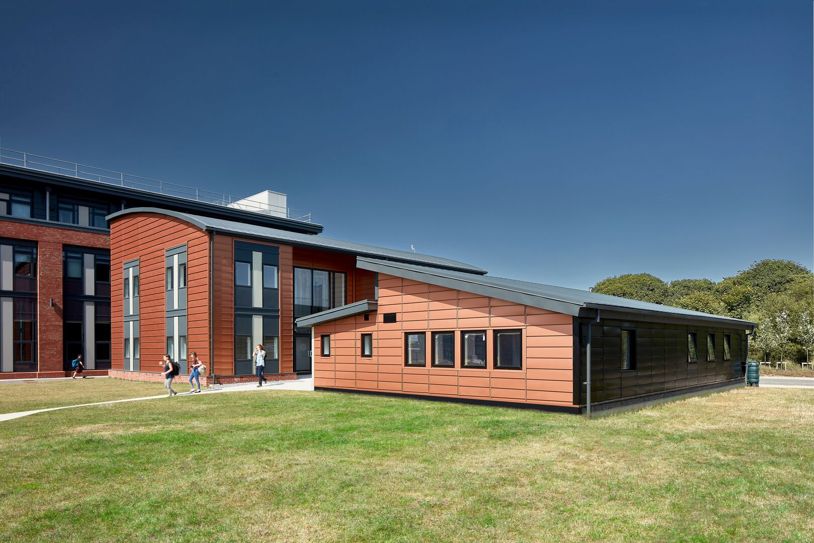 Trisobuild wall active classroom swansea tata steel construction Colorcoat Urban  rainwater systems