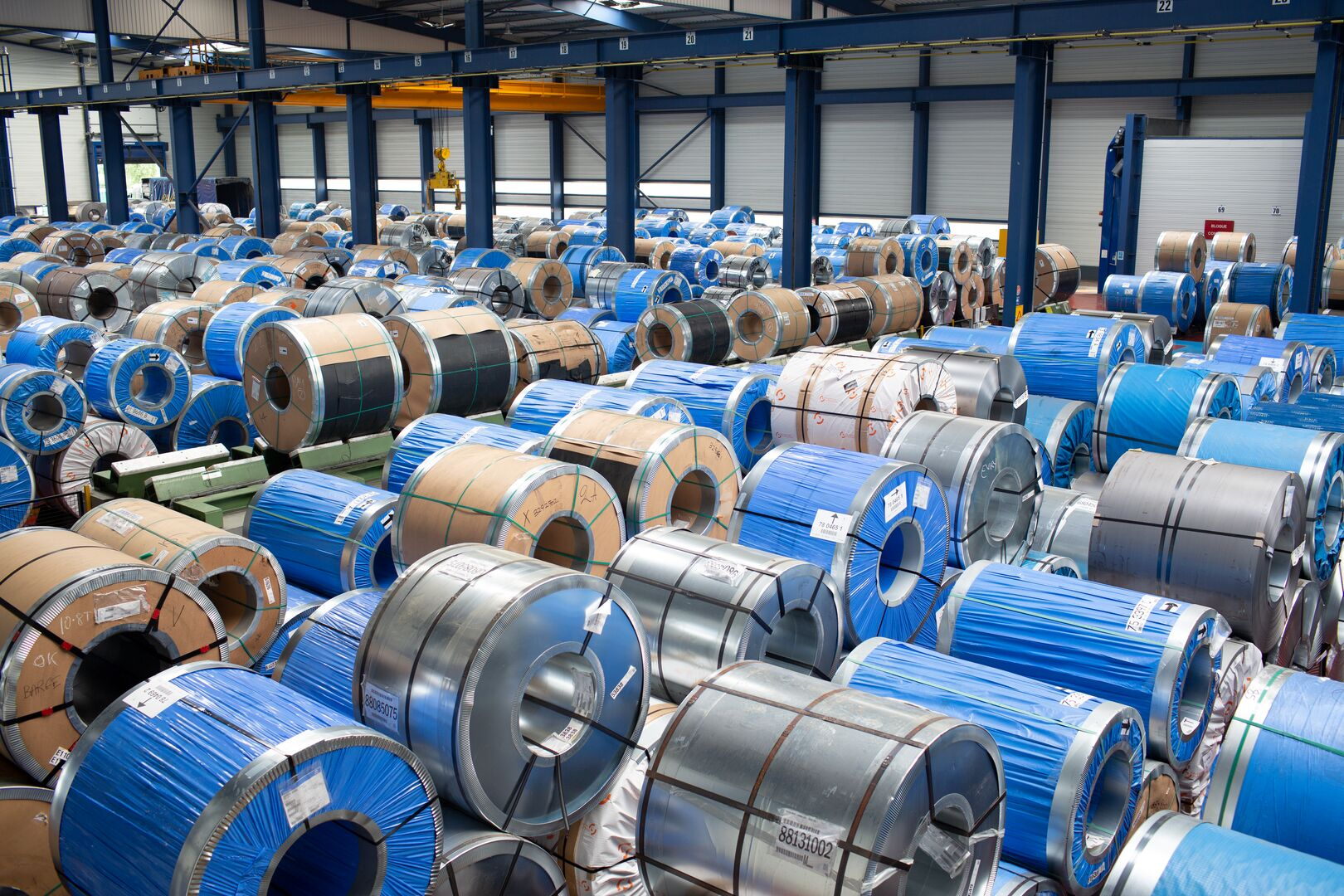 Numerous steel coils at the Unitol Service Centre in Paris