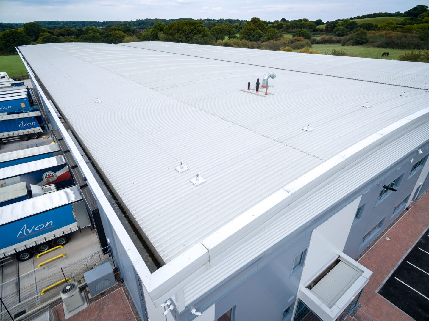 Colorcoat Aquatite industrial gutters for Redditch warehouse