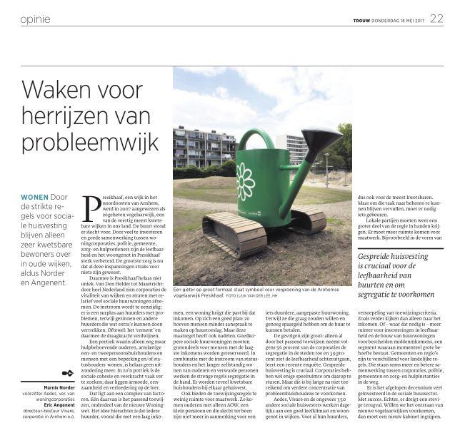 Opinie Marnix Norder en Eric Angenent: Waken voor herrijzen van probleemwijk'