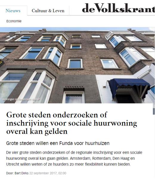 Volkskrant: 'Grote steden onderzoeken of inschrijving voor sociale huurwoning overal kan gelden'