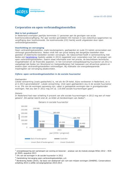 Factsheet Aedes over corporaties en verbrandingstoestellen