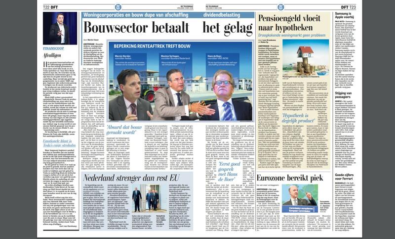 Krantenpagina telegraaf 04 mei 2018 met Aedes-voorzitter Marnix Norder en Bouwend Nederlandvoorman Maxime Verhagen tegen ATAD