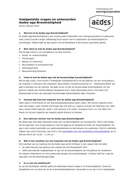 Veelgestelde vragen en antwoorden Aedes-app Brandveiligheid