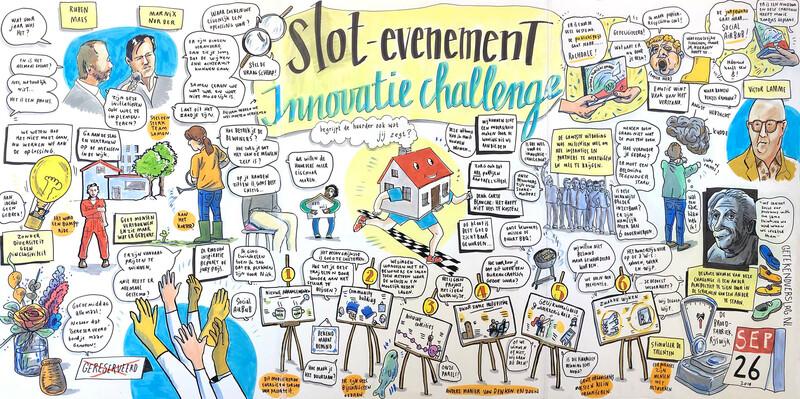 Getekende weergave van slotevenement Innovatiechallenge