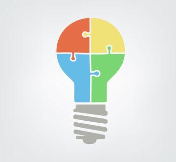 Illustrasjon av en puslespill lyspære