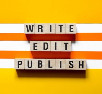 """Blocks with the text """"write, edit, published"""""""