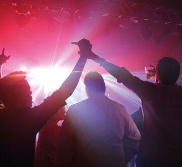 Mennesker på konsert holder hender