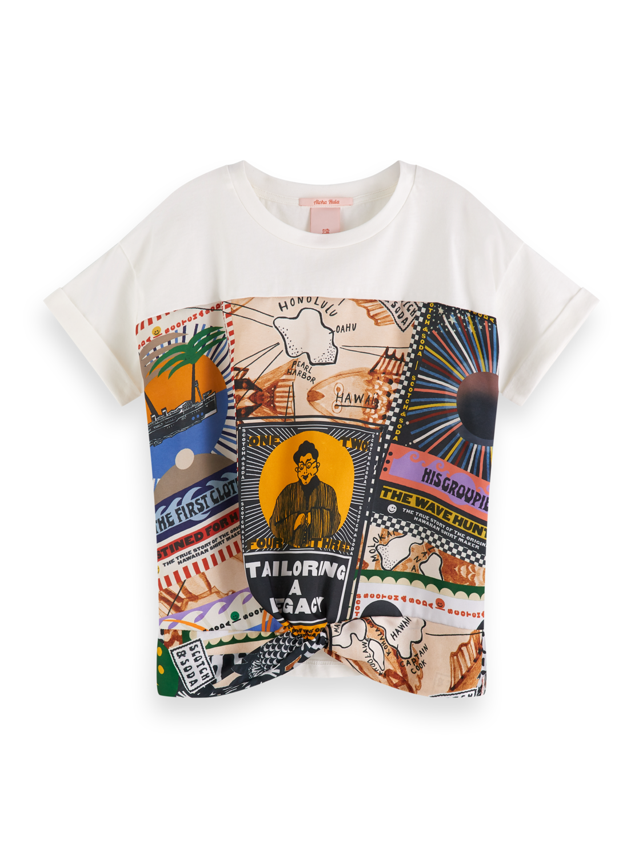 Girls Oversized Printed Panel T-Shirt