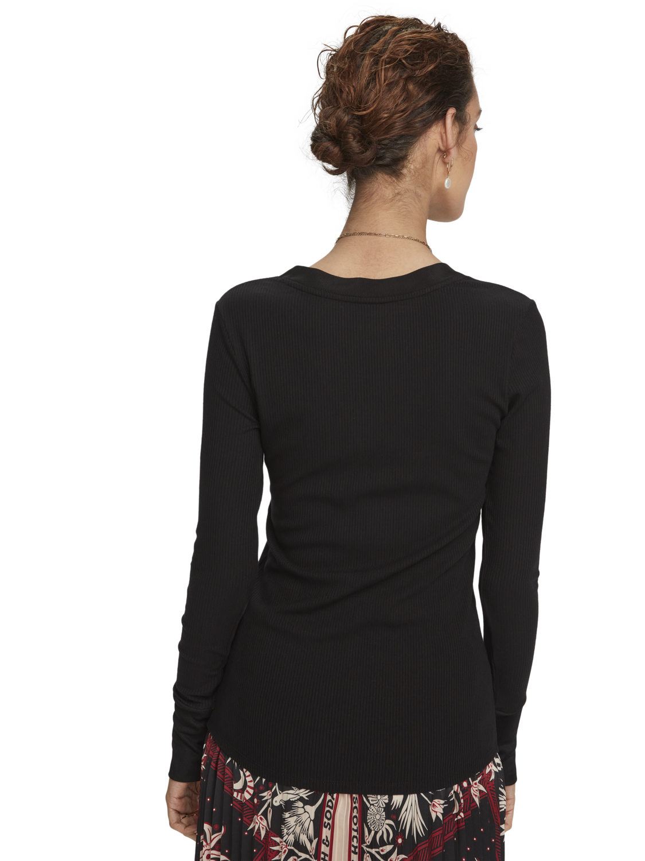 Women Long sleeve V-neck Grandad t-shirt