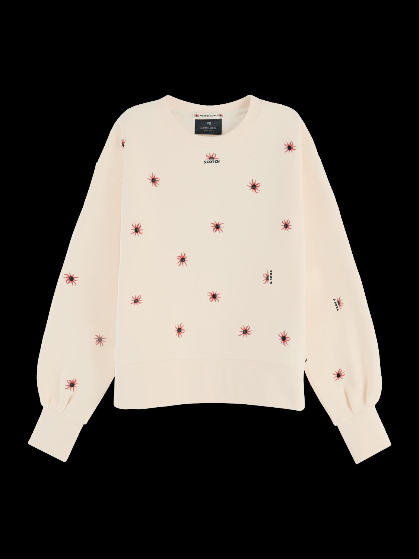 Women Cotton blend embroidered puff sleeve sweatshirt