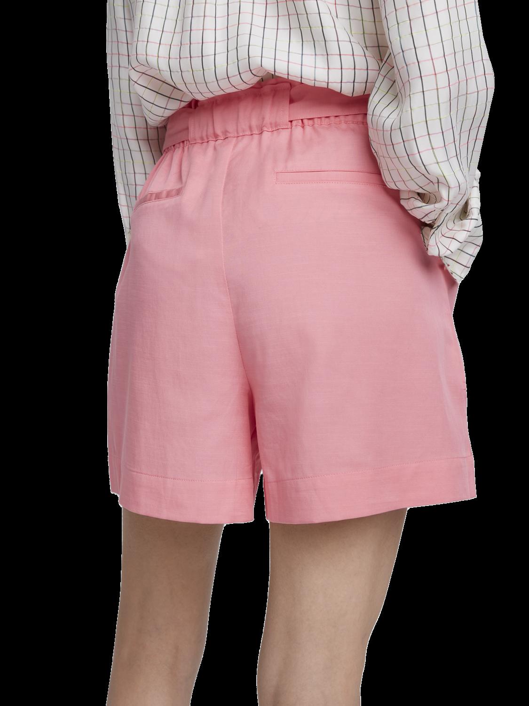 Women Cotton blend paperbag shorts