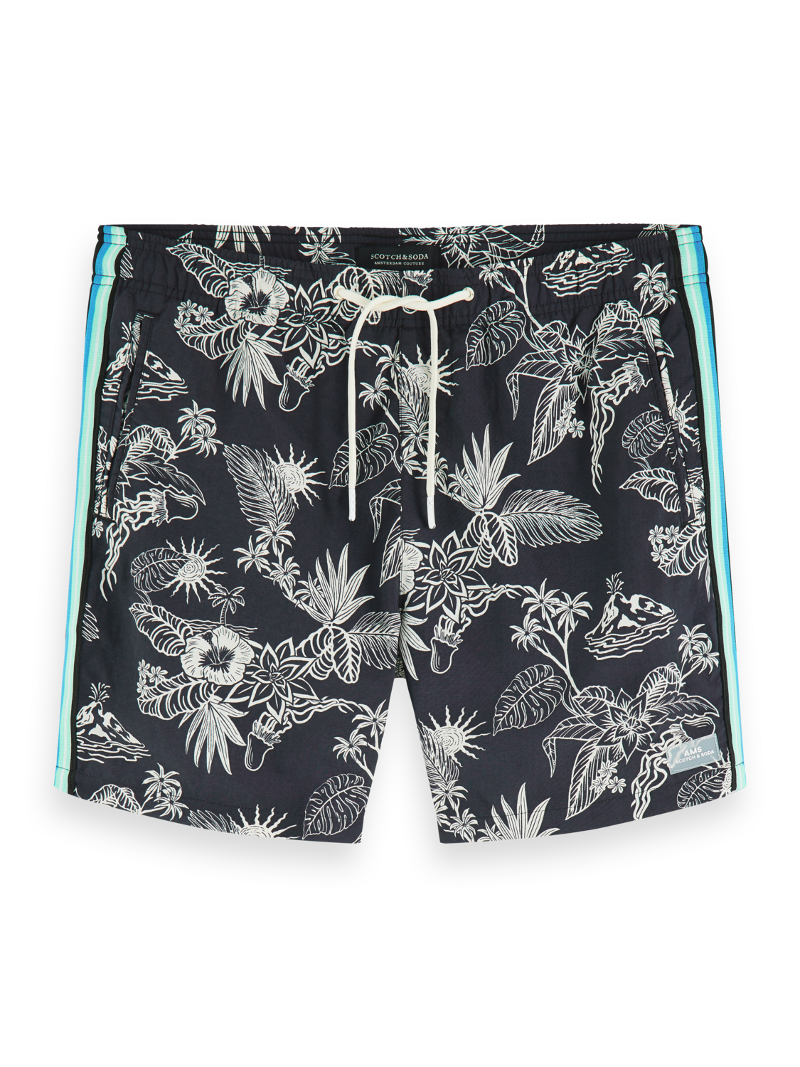 Men Printed swim shorts with side tapes