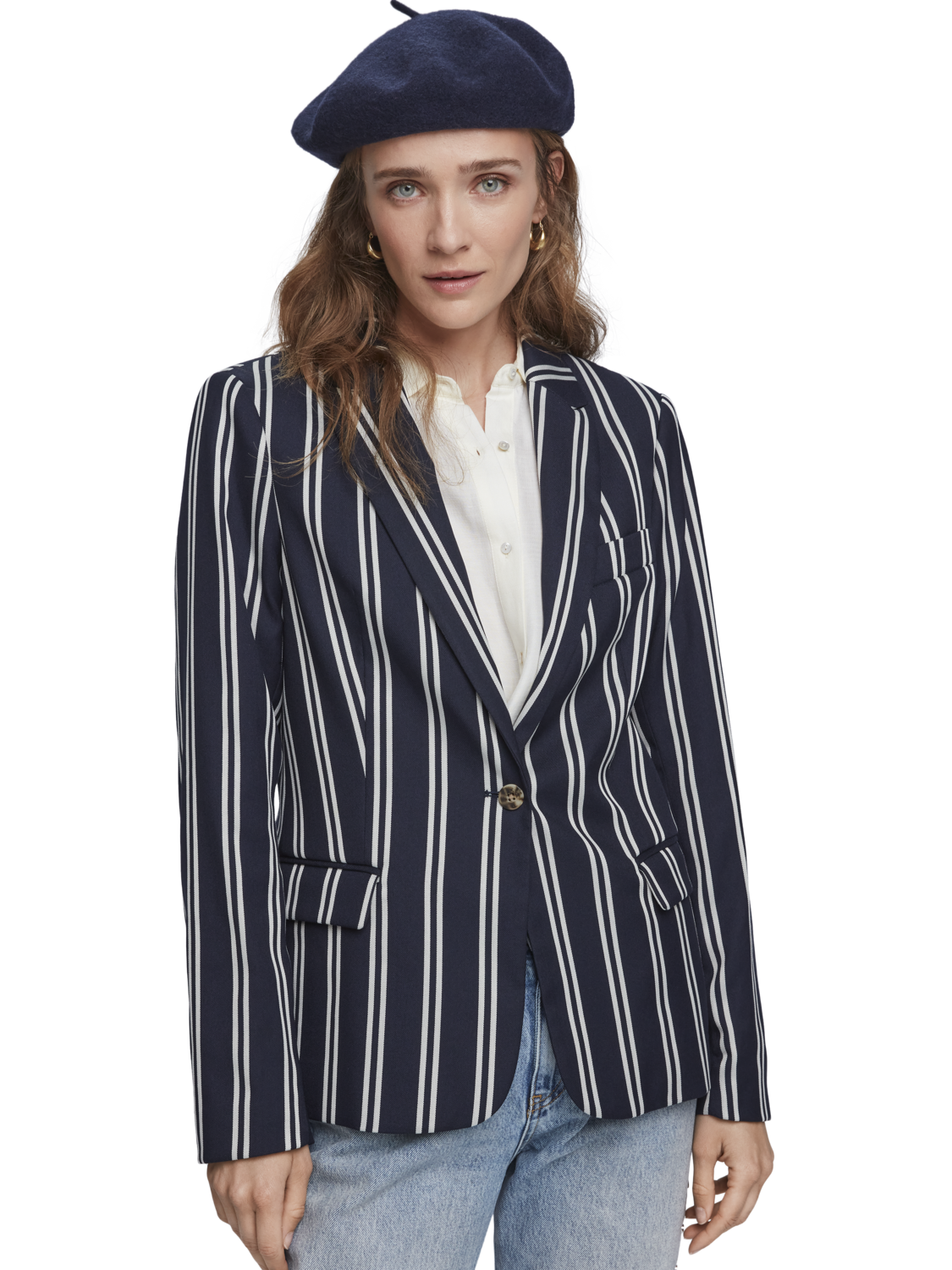 Women Striped stretch blazer