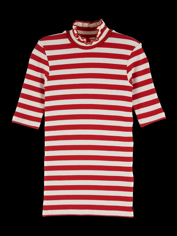 Girls High Neck Rib Knitted T-Shirt