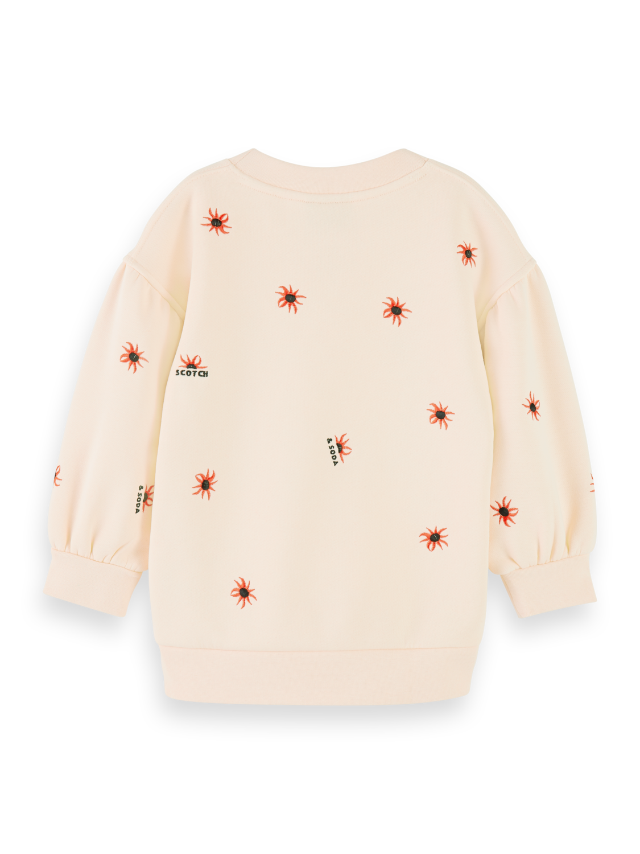 Flickor Cotton-blend balloon sleeve embroidered sweatshirt