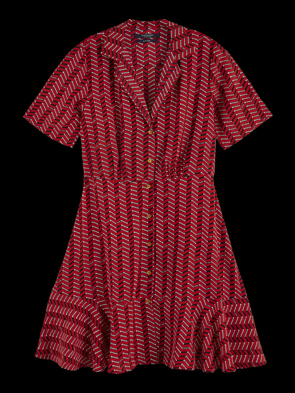 Women Short sleeve printed button up mini dress