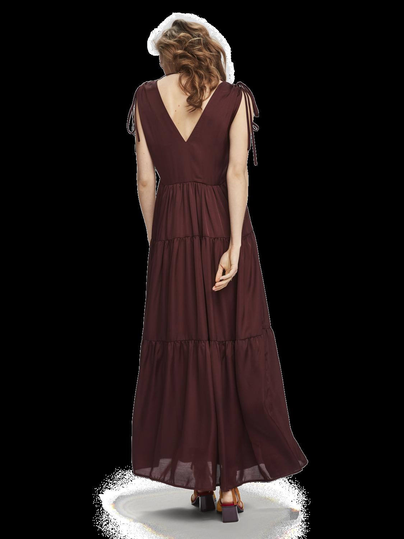 Women Tiered satin maxi dress