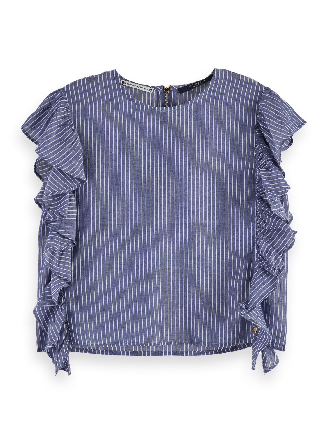 Damer Cotton blend boxy fit striped ruffle top