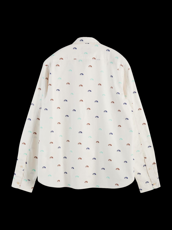 Men Long sleeve 100% cotton patterned oxford shirt