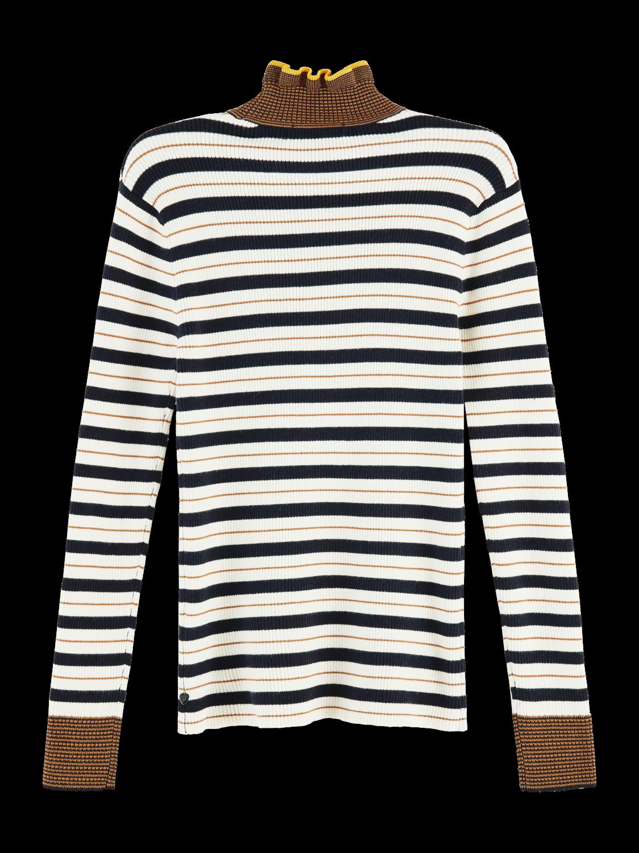 Damer 100% cotton striped rib knit turtleneck