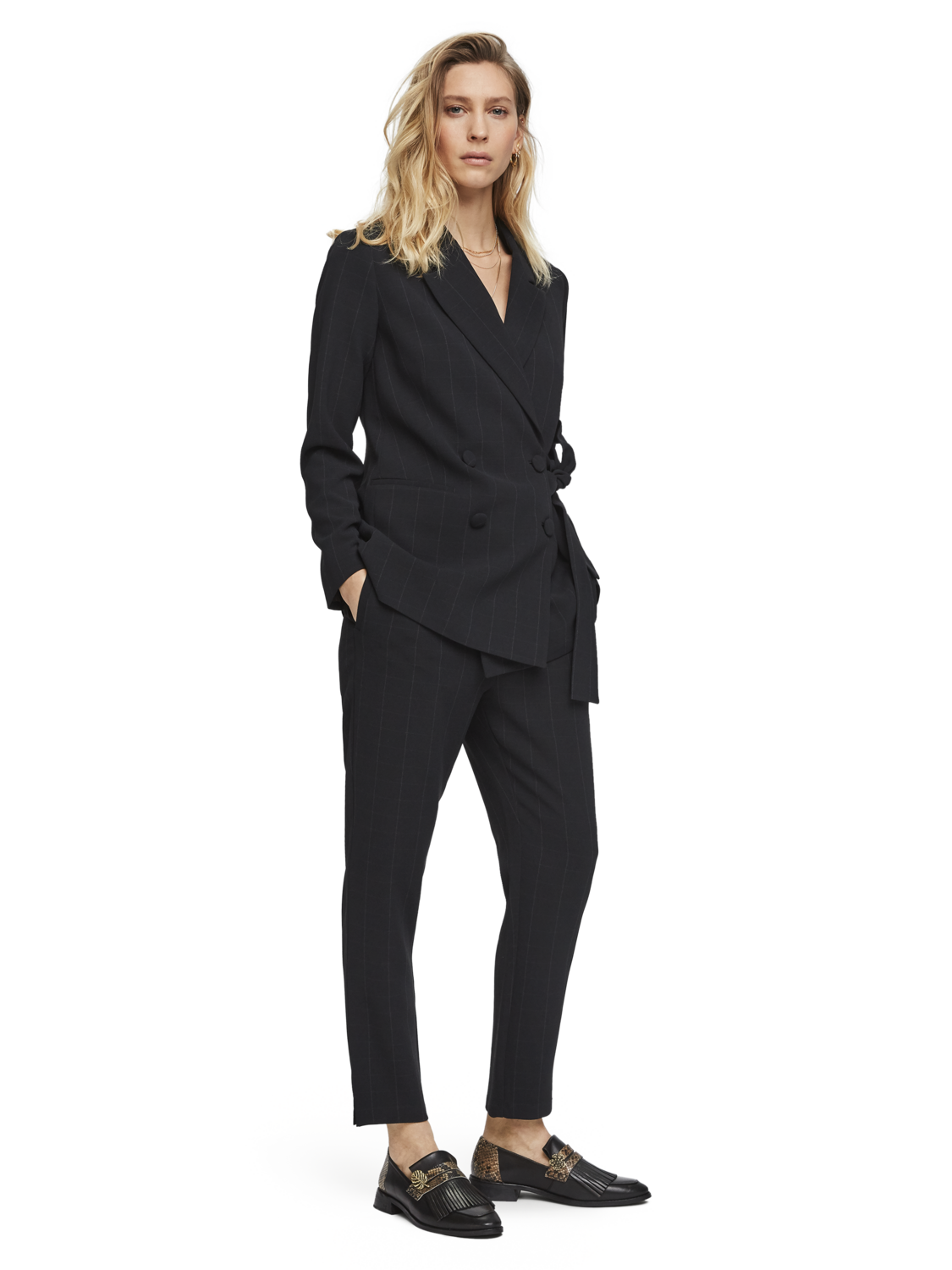 Women Checked side tie blazer