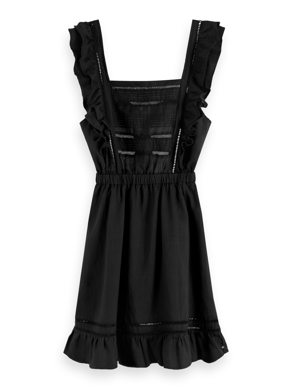 Women Ruffled Ramie Dress