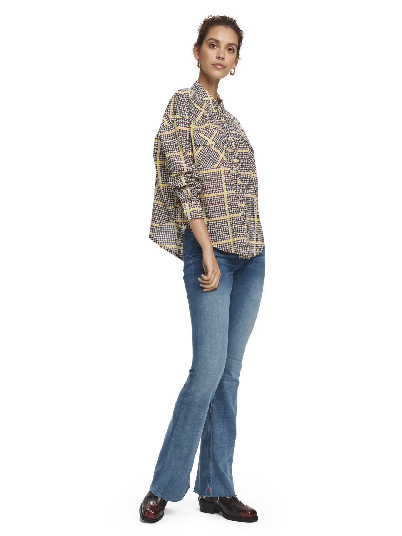 Damer Cotton blend long sleeve checked western shirt
