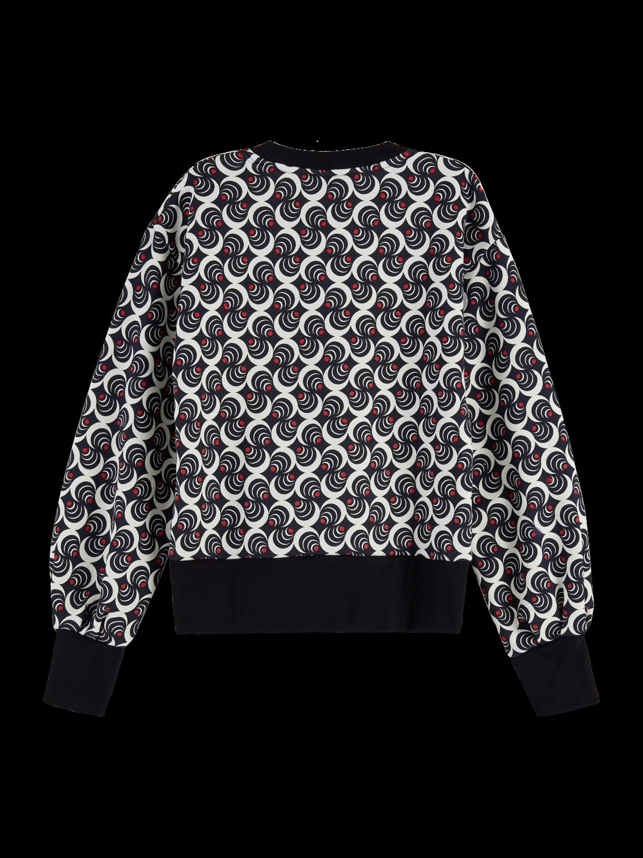 Women Cotton blend printed balloon sleeve sweatshirt