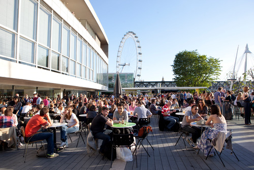 People enjoying a sunny Royal Festival Hall Terrace Bar at the Southbank Centre
