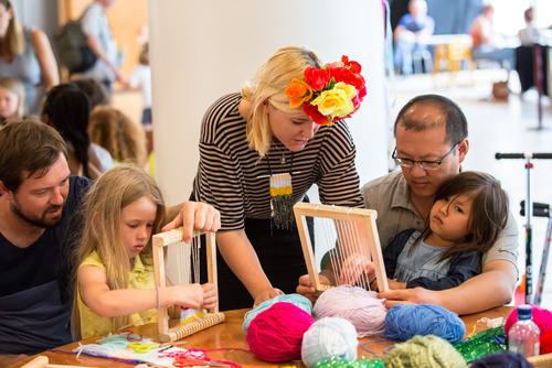 Families participate in a workshop during the Festival of Love at the Southbank Centre
