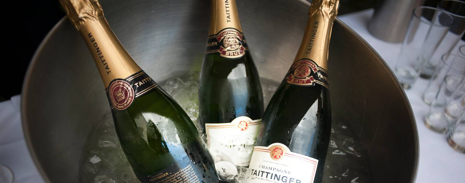 Champagne Bottles in an ice bucket at a Wedding in the Royal Festival Hall