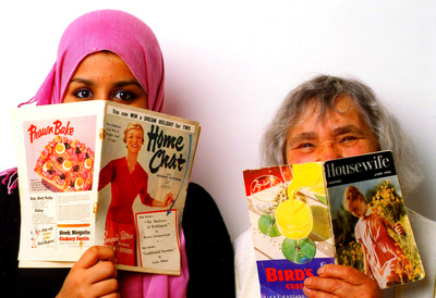 Two Women with Book Covers